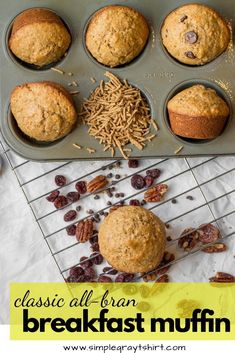 all bran muffins are super healthy muffin to keep on hand for quick and easy bre. all bran muffins are super healthy muffin to keep on hand for quick and easy breakfast. Cereal Recipes, Muffin Recipes, Baking Recipes, Dessert Recipes, Desserts, Fiber Muffin Recipe, Easy Muffin Recipe, Vegan Recipes, Healthy Breakfast Muffins