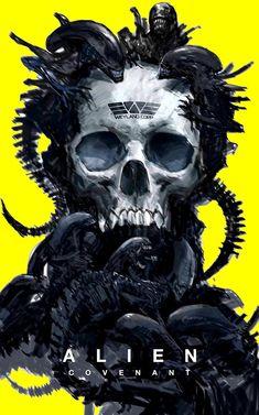Alien poster by Alien Vs Predator, Predator Alien, Alien Film, Alien 1979, Alien Art, Alien Skull, Les Aliens, Aliens Movie, Arte Horror