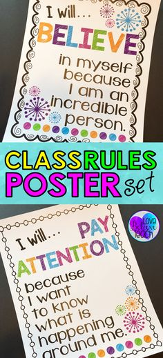 """These posters are more than just basic """"classroom rules"""". They are a great way to help your students think more deeply about their behavior and what you expect from them. by lorena 4th Grade Classroom, Classroom Behavior, Classroom Design, Future Classroom, Classroom Ideas, Classroom Discipline, Classroom Projects, Classroom Environment, Class Rules Poster"""