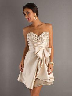 A-line Sweetheart Champagne Ruched Satin Short/Mini Dress at Dresseshop