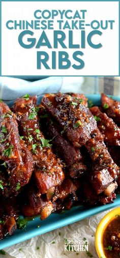 Copycat Chinese Restaurant Dry Garlic Ribs are a nostalgic buffet favourite. Every 80s and 90s Chinese buffet included these delicious ribs and this is a make-at-home recipe that's better than the original! Get ready, because one taste of these ribs and you'll be transported back in time!! #ribs #dry #garlic #chinese #restaurant #buffet #copycat #recipe Bbq Ribs, Pork Ribs, Oven Ribs, Rib Recipes, Asian Recipes, Cooking Recipes, Recipies, Chinese Recipes, Fat Bombs