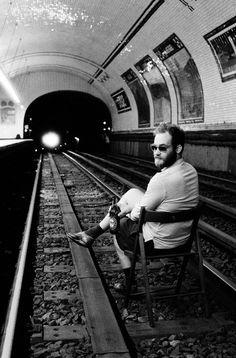 on the tracks.  enjoying a heineken.  but the train's a comin'...