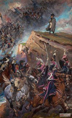 Wojciech Kossak, Vive l'Empereur, 1915. Les chevaux-légers Polonais acclament Napoléon 1er avant de partir à l'assaut du col de Somosierra.