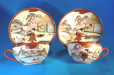 Nippon Kutani - 2 Eggshell Tea Cups And Saucers - Hand Painted Geisha - Japan