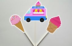 Ice Cream Cupcake Toppers, Ice Cream Party, Ice Cream Birthday by CraftyCue on Etsy