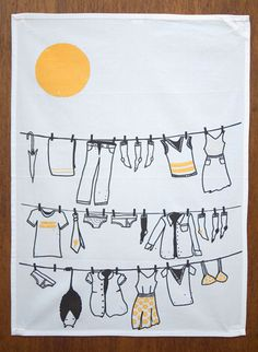 Clever stuff from a Seattle micro-business Clothesline Towel - Wonder Thunder Line Illustration, Pattern Illustration, Clothes Line, Color Azul, Doodle Art, Tea Towels, Bunt, Screen Printing, Doodles