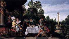 Merry company banqueting on a terrace, 1615  Esaias van de Velde