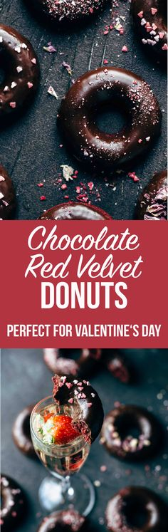 This baked Chocolate Red Velvet Donuts recipe is easy to make and perfect for Valentine's Day. Intense chocolatey, moist, and fluffy. Step-by-step video.