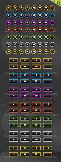 Multimedia Button Set - #Buttons Web Elements Download here: https://graphicriver.net/item/multimedia-button-set/59107?ref=alena994