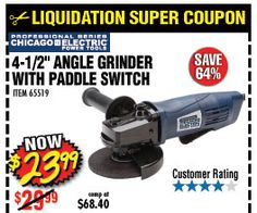 4 1 2 In 6 Amp Heavy Duty Paddle Switch Angle Grinder Harbor Freight Tools Angle Grinder Coupons