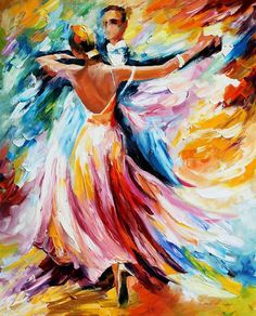 Leonid Afremov, oil on canvas, palette knife, buy original paintings, art, famous artist, biography, official page, online gallery, large artwork, young,  red dress, music, dance, girls, tango, guy