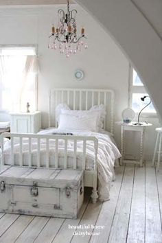 pretty shabby chic bedroom - love the chandy!