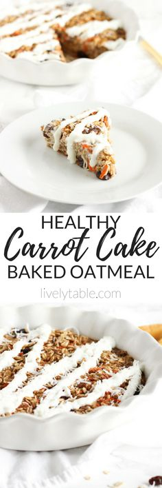 Carrot Cake Baked Oatmeal has all of the delicious flavors of carrot cake in a healthy make-ahead breakfast or brunch dish that tastes like dessert! (gluten-free, vegetarian)   via livelytable.com  I'll just not use raisins.