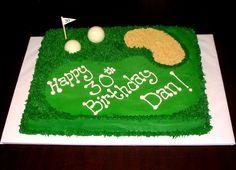 30th birthday golf cake - 11x15 sheet cake. half van/half choc. white chocolate golf balls. graham cracker sand.