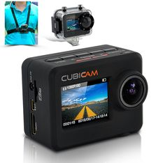 "Waterproof 1080p HD Sports Camera ""Cubicam"" - Body Strap + Multi Mount Accessory Kit =====> Full HD Sports Camera  1920x1080 30FPS  Super wide 170° angle  20m Waterproof Casing  A million ways to attach this product  4000x3000 12MP Photo Capture Size  Spectable 180° image flip"