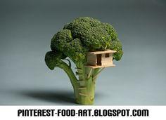 Broccoli Tree House Food Art