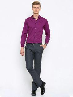 Magenta shirt and grey trouser