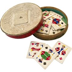 Antique miniature playing cards in box for French Fashion