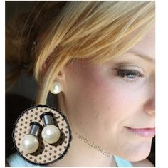 Pair of barely beige light-weight faux pearl (round 12 mm acrylic) single-flare 316L surgical stainless steel tunnels. PLEASE: read my shop policies