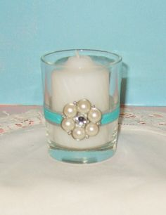 Tiffany Blue Breakfast at Tiffany Inspired Wedding Votive Candle Holders by CarolesWeddingWhimsy - Check out my Etsy Shop to Favorite or Follow my listings.... http://etsy.com/shop/CarolesWeddingWhimsy
