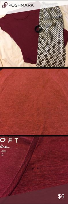 Burnt red linen shirt. Gorgeous color! Burnt red linen shirt. The shirt does have two small pinholes from a broach - please see pictures. LOFT Tops Tees - Short Sleeve