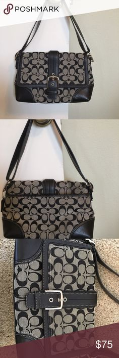Coach purse. Excellent condition. Tan and black Coach purse. Hardly used. No stains - absolutely nothing is wrong with it. Has a pouch on the outside. There are two pouches inside and a zipper area too. The strap can easily be adjusted to fit as a cross body too.  Reasonable offers are accepted. Coach Bags
