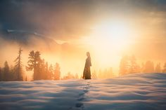 Into the Light - An outtake from a self-portrait shoot during sunrise a couple years ago, high up in the snowy mountains after a night of camping. One of the most beautiful moments I've lived through, when the fog finally broke up to reveal the mountains and sun for the first time during the trip.