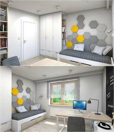 modernes Kinderzimmer in grau, weiß und hellem Holz