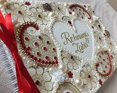 Personalised Wedding Guest-book. Ivory, gold, red, paisley, Indian, party, asian.