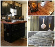 """A Counter top made of pallet boards rests on top of an old dresser covered with pallet boards. [symple_box color=""""gray"""" fade_in=""""false"""" float=""""center"""" text_align=""""left"""" width=""""100%""""] Website: Scrapality.com ! [/symple_box]"""