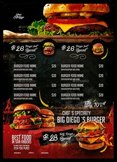 Pizza Menu Design, Food Graphic Design, Food Menu Design, Food Poster Design, Restaurant Menu Design, Food Png, Burger Menu, Menu Layout, Food Menu Template