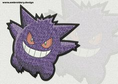 Gengar Pokemon embroidery design – 2 sizes - downloadable by EmbroSoft on Etsy