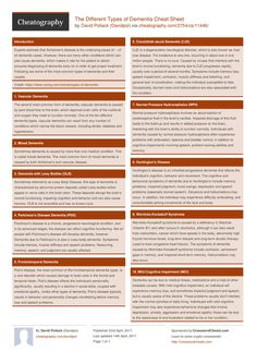 The Different Types of Dementia Cheat Sheet from Davidpol. Different Types Of Dementia, Dementia Types, Lewy Body Dementia, Vascular Dementia, Alzheimer's And Dementia, Frontal Lobe Dementia, Huntington Disease, Fundamentals Of Nursing, The More You Know