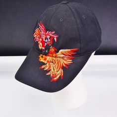 d5758cb2b1379 Fighting Cocks Ball Cap Black Trucker Hat Embroidered Roosters