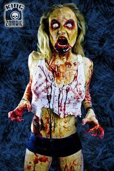 Hungry Mandy by TamvakisPhoto on DeviantArt Cat Eye Contacts, Halloween Contacts, Halloween Makeup, Halloween Costumes, Zombie Pin Up, Zombie Walk, Zombie Makeup, Sfx Makeup, Zombie Cosplay