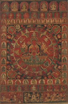 Mandala of the Sun God Surya. This superb mandala is devoted to the solar deity Surya and bears a date most likely read as 1379, making it one of only two known Nepalese paintings of the fourteenth century