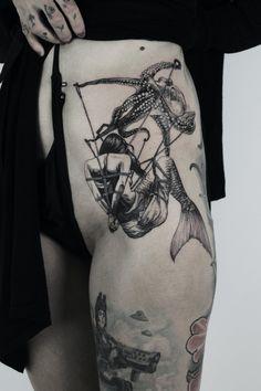 Octopus Thigh Tattoos, Small Octopus Tattoo, Animal Skull Tattoos, Skull Tattoo Flowers, Octopus Tattoo Design, Animal Thigh Tattoo, Flower Tattoos, Tattoo Designs, Thigh Sleeve Tattoo