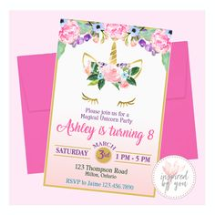 Unicorn Birthday Invitation - Digital File Only - Print Yourself Purple Invitations, Unicorn Birthday Invitations, Personalized Invitations, Watercolor Flowers, Pink And Gold, Girl Birthday, Rsvp, Messages, Digital