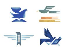 Bluebird Books logo design options by Brian Miller and Adam Anderson of Gardner Design