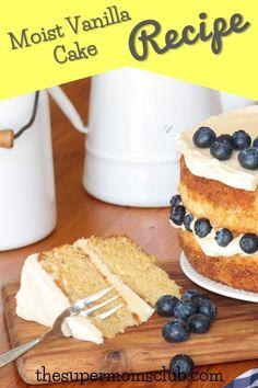 Super Moist Vanilla Cake Recipe - The Super Moms Club Baking Recipes, Cake Recipes, Moist Vanilla Cake, Buttercream Icing, Super Mom, Foodies, Spices, Yummy Food, Sugar