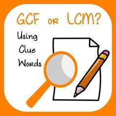 Greatest Common Factor or Least Common Multiple - Using Clues from Mathematic… Sixth Grade Math, Fourth Grade Math, Third Grade, Math Enrichment, Math Activities, Math Games, Lcm And Gcf, Least Common Multiple, Greatest Common Factors