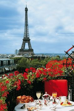 Have breakfast outside in Paris, with a view of the Eiffel Tower.