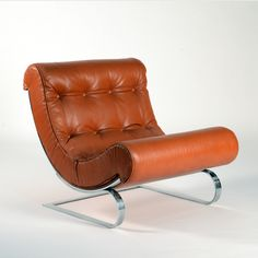 Anonymous; Chromed Steel and Leather Lounge Chair by Cinova, 1970s.