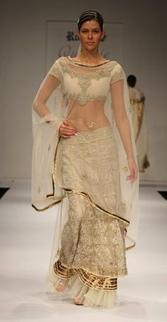 Cream lengha by Rocky S Indian Wedding Outfits, Pakistani Outfits, Indian Outfits, Indian Weddings, Wedding Dress, Indian Attire, Indian Wear, Indian Style, Indian Ethnic