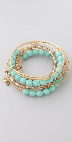 Alex and Ani Turquoise and Gold Bangle Set
