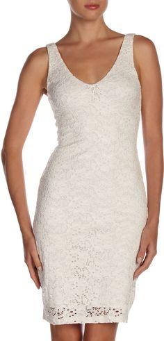 (Was $89.0) $53.4  Velvet by Graham & Spencer Lace V-Neck Dress, Oyster