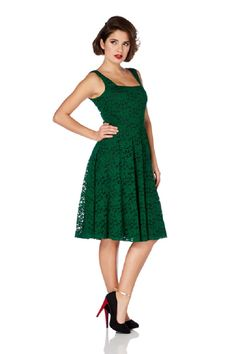 Vintage Inspired 60's Victorian Green Rose Lace Flare Party Dress