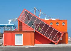 Angled shipping container houses stairs for office by Potash