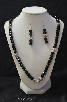 Black faceted stones with silver beads