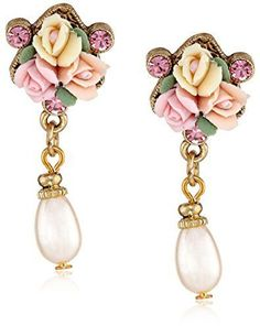 1928 Jewelry Gold-Tone Crystal Pink Porcelain Rose Simulated Pearl Drop Earrings